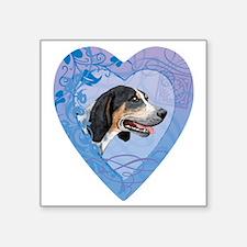 """bluetick-heart Square Sticker 3"""" x 3"""""""