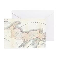 1849_Land_Survey_Map_of_Michigan_Upp Greeting Card