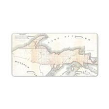 1849_Land_Survey_Map_of_Mic Aluminum License Plate