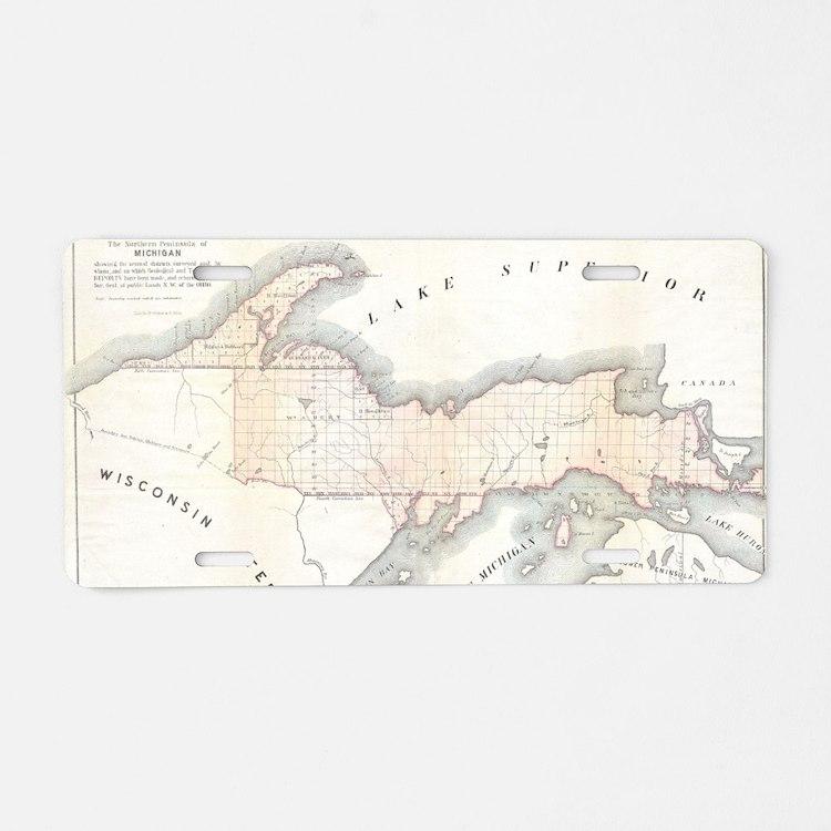 1849_Land_Survey_Map_of_Mic Aluminum License Plate