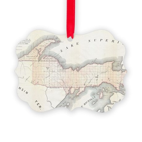 1849_Land_Survey_Map_of_Michigan_ Picture Ornament
