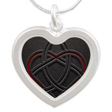 Celtic Knotwork Leather Vale Silver Heart Necklace