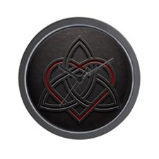 Celtic Knotwork Leather Valentine Heart Wall Clock