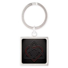 Celtic Knotwork Leather Valentine  Square Keychain