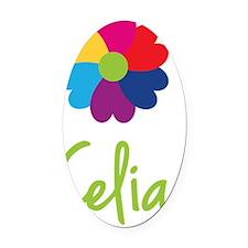 Celia-Heart-Flower Oval Car Magnet
