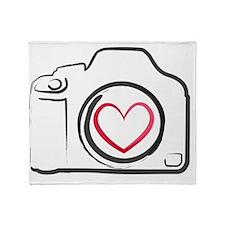 DSLR Camera Heart Throw Blanket
