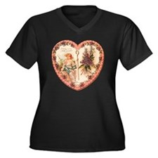 03-Greeting- Women's Plus Size Dark V-Neck T-Shirt
