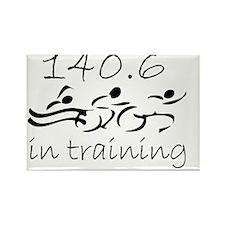140.6 In Training Black on WHite Rectangle Magnet
