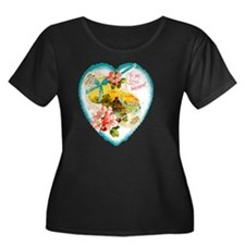05-To-Li Women's Plus Size Dark Scoop Neck T-Shirt
