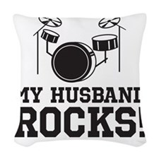 HusbandRocks_LightShirt Woven Throw Pillow