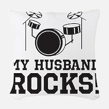 HusbandRocks_LightShirt Woven Throw Pillow