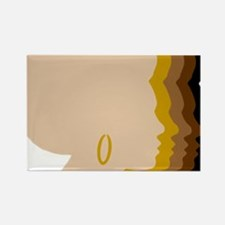 Women Afro Five Tones Rectangle Magnet