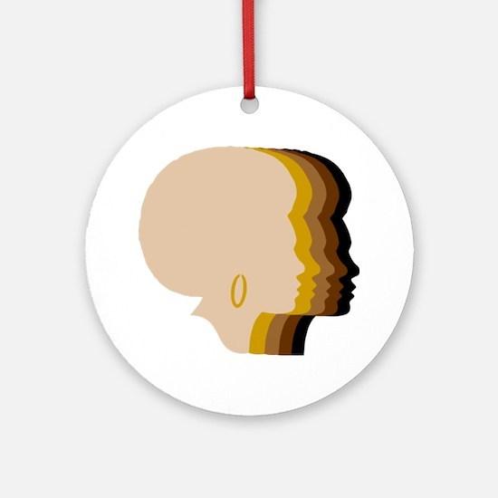 Women Afro Five Tones Round Ornament