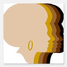 "Women Afro Five Tones Square Car Magnet 3"" x 3"""