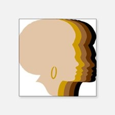"Women Afro Five Tones Square Sticker 3"" x 3"""