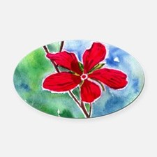 scarlet mallow Oval Car Magnet