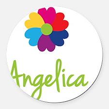 Angelica-Heart-Flower Round Car Magnet