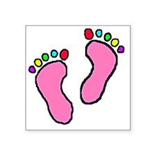 """Colored-Feet-14b14 Square Sticker 3"""" x 3"""""""
