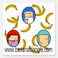 "Raining bananas-white-li Square Car Magnet 3"" x 3"""