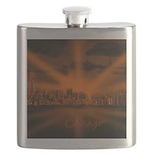 Chicago skyline night Flask