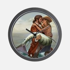 pirate and mermaid mousemat Wall Clock