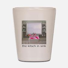 sink flamingos 1 Shot Glass