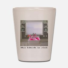 sink flamingos 1 for black copy Shot Glass