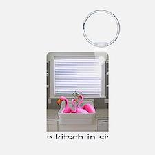 sink flamingos 1 for black Keychains