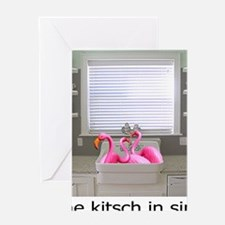 sink flamingos 1 for black copy Greeting Card