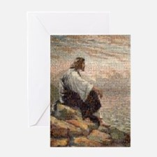 Jesus On A Mountain Alone (lg) Greeting Card