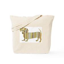 Striped Dachshund Puppy Tote Bag