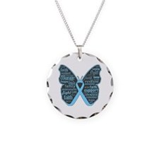Thyroid Disease Butterfly Necklace Circle Charm