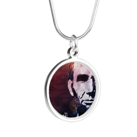 aug11_liberty_lincoln Silver Round Necklace