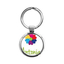 Antonia-Heart-Flower Round Keychain