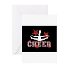 Cheerleader in black and red Greeting Cards