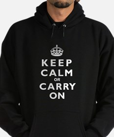 KEEP CALM or CARRY ON wt Hoodie (dark)