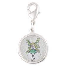 Squished Clover Faery Silver Round Charm
