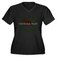 isleroyalena Women's Plus Size Dark V-Neck T-Shirt