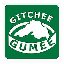 "Gitchee Gumee Square Car Magnet 3"" x 3"""