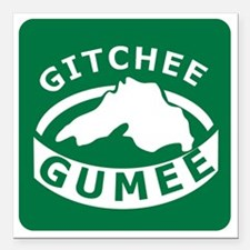 "Gitchee Gumee Square Car Magnet 3"" x 3"""
