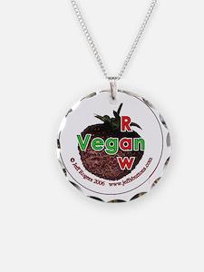 Raw vegan (strawberry) Necklace Circle Charm