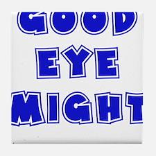 blue, Good Eye Might, hot mustard Tile Coaster