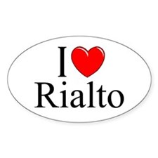 """I Love Rialto"" Oval Decal"