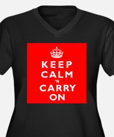 KEEP CALM n CARRY ON Women's Plus Size V-Neck Dark