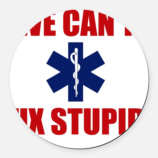 we Can't Fix Stupid Round Car Magnet