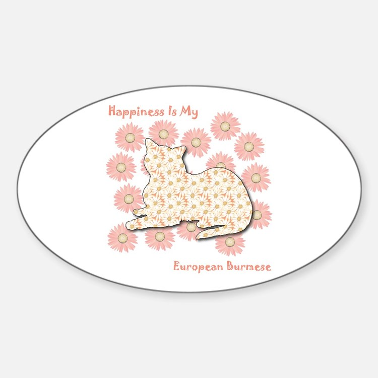 Burmese Happiness Oval Decal