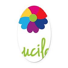 Lucile-Heart-Flower Oval Car Magnet