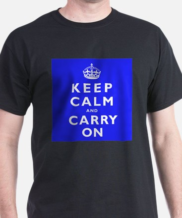 KEEP CALM and CARRY ON blue T-Shirt