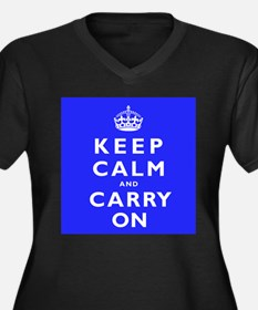 KEEP CALM and CARRY ON blue Women's Plus Size V-Ne