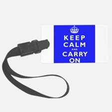 KEEP CALM and CARRY ON blue Luggage Tag